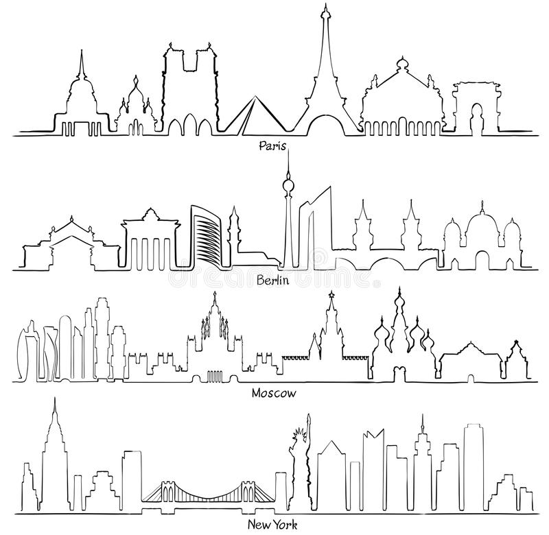 Set of vector cities silhouette Paris, Berlin, Moscow and New Y. Ork stock illustration