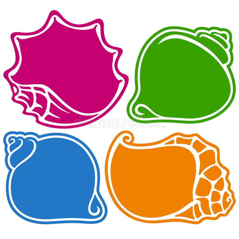 Set of vector colored shells frame vector illustration
