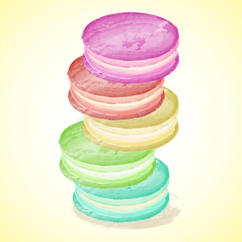 Set of vector colorful macarons on yellow background. royalty free illustration