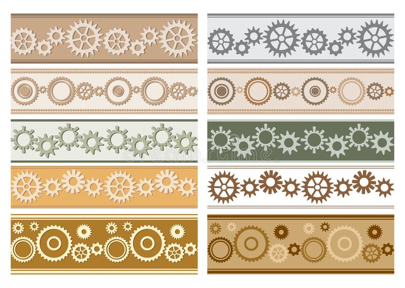 Set of vector colorful seamless borders with gears - colored cogwheels royalty free illustration