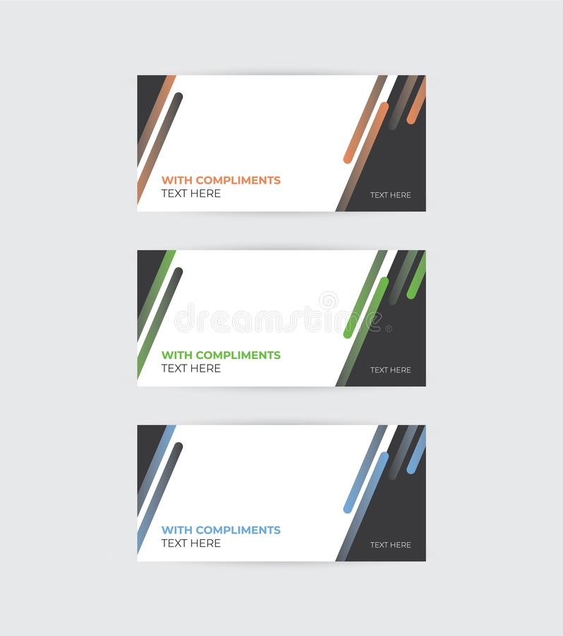A set of vector compliment slips. A geometric style set of illustrated business compliment slips royalty free illustration