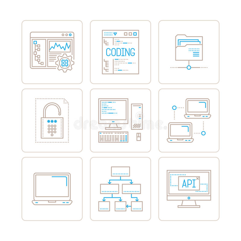Set of vector computer icons and concepts in mono thin line style.  vector illustration