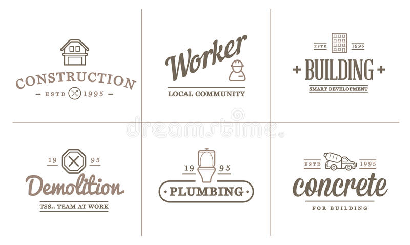 Set of Vector Construction Building Icons Home and Repair can be used as Logo stock illustration