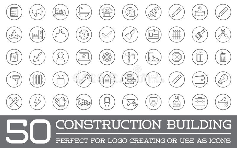 Set of Vector Construction Building Icons. Home and Repair can be used as Logo or Icon in premium quality royalty free illustration
