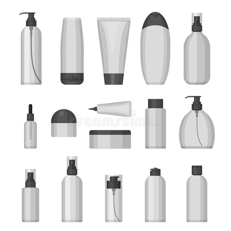 Set of vector cosmetic bottles, flat design. Set of vector cosmetic bottles for beauty and cleanser, skin and body care, toiletres. Flat design on a white royalty free illustration