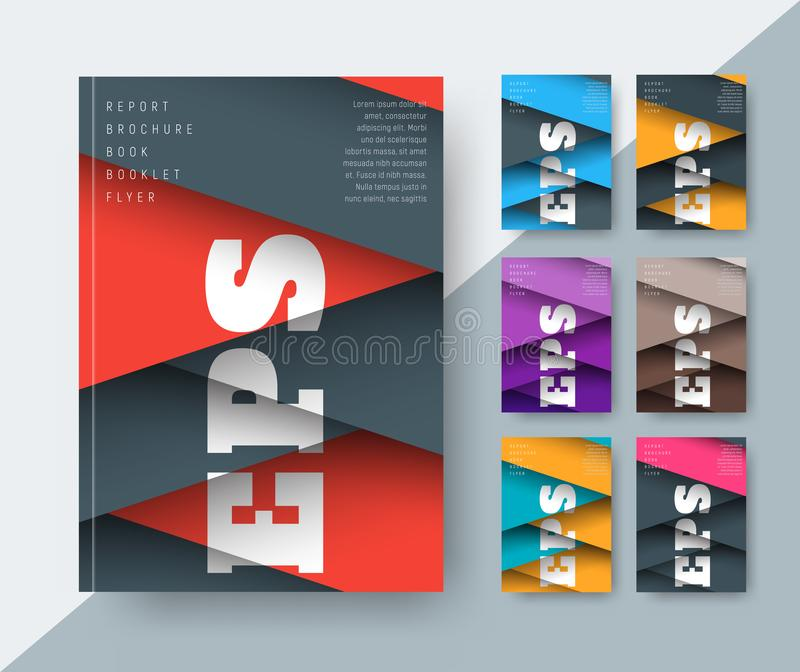 Set of vector covers for a report in a modern style royalty free illustration