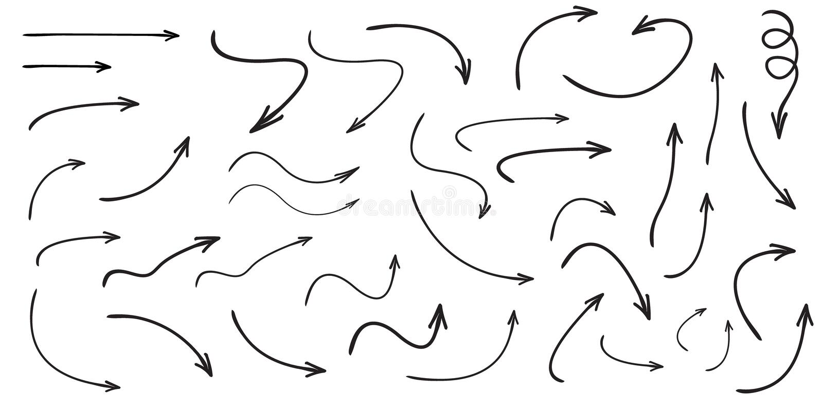 Set of vector curved arrows hand drawn. Sketch doodle style. vector illustration
