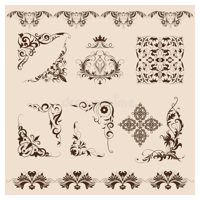 Set of vector damask ornaments stock photos