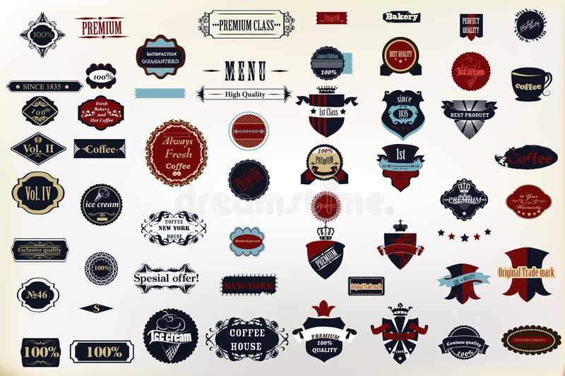 Set of vector decorative badges and labes for design. Huge set of vector decorative badges and labels for design badges, logo, stickers, cafe, labels and many royalty free illustration