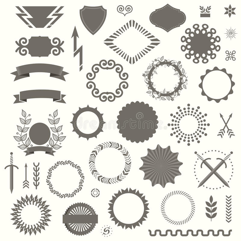 Set of Vector Decorative Elements in Art Deco Vintage Style royalty free illustration