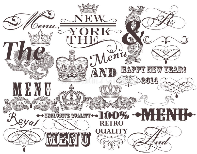 Set of vector decorative headlines and elements in vintage style. Vector set of calligraphic ands and the elements for design. Calligraphic vector stock illustration