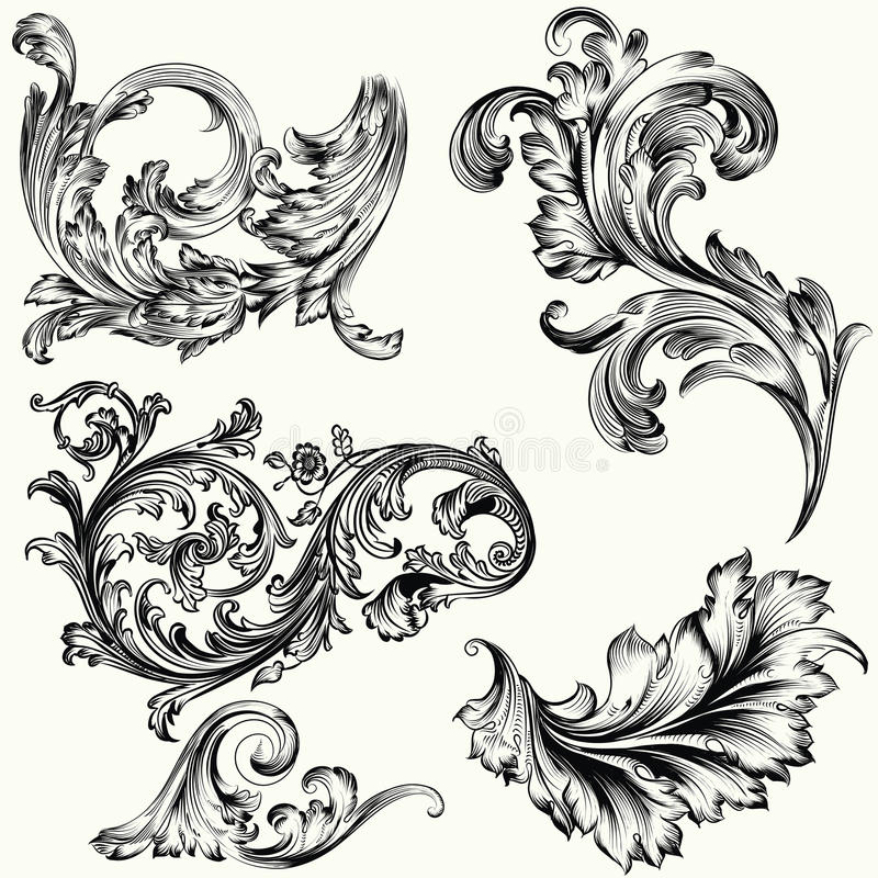 Set of vector decorative ornaments in vintage royalty free illustration