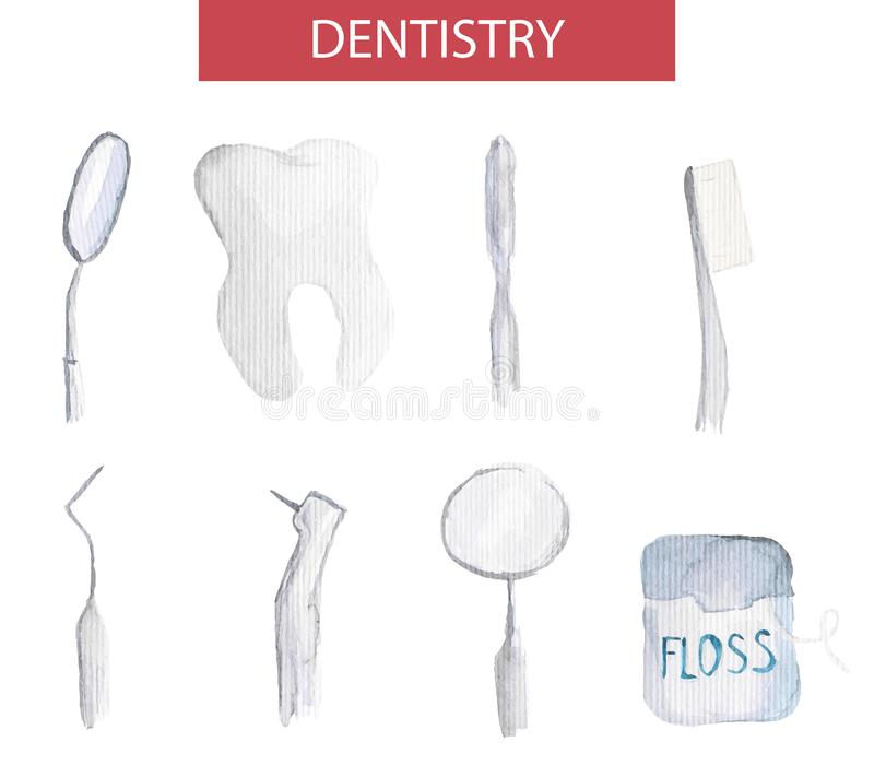 Set of vector dentistry instruments and oral care kit. Elegant simple illustrations of watercolor close-ups of tooth, floss, toot stock illustration