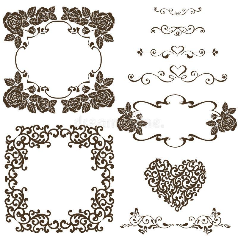 victorian roses wedding invitation stock illustration