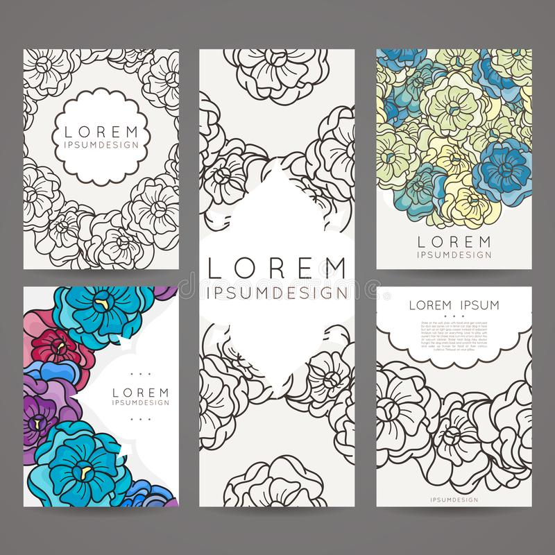 Set Of Vector Design Templates. Brochures In Random Flower Style ...