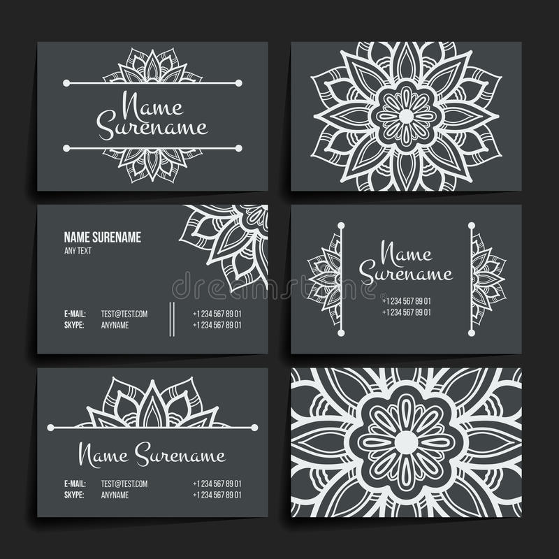 Set Of Vector Design Templates. Business Card With Floral Circle ...