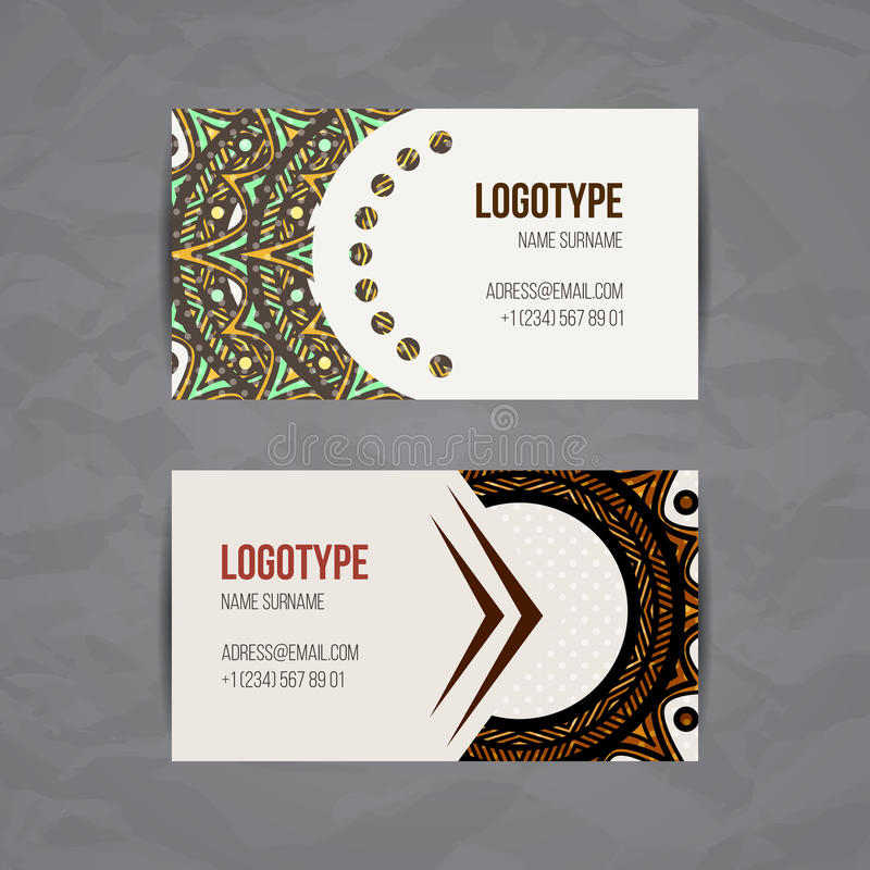 Set Of Vector Design Templates Business Card With Floral Circle