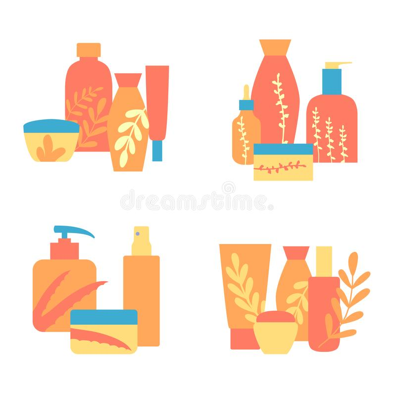 Set of vector designs organic cosmetics, natural care products. Hand drawn vector illustrations in flat style vector illustration