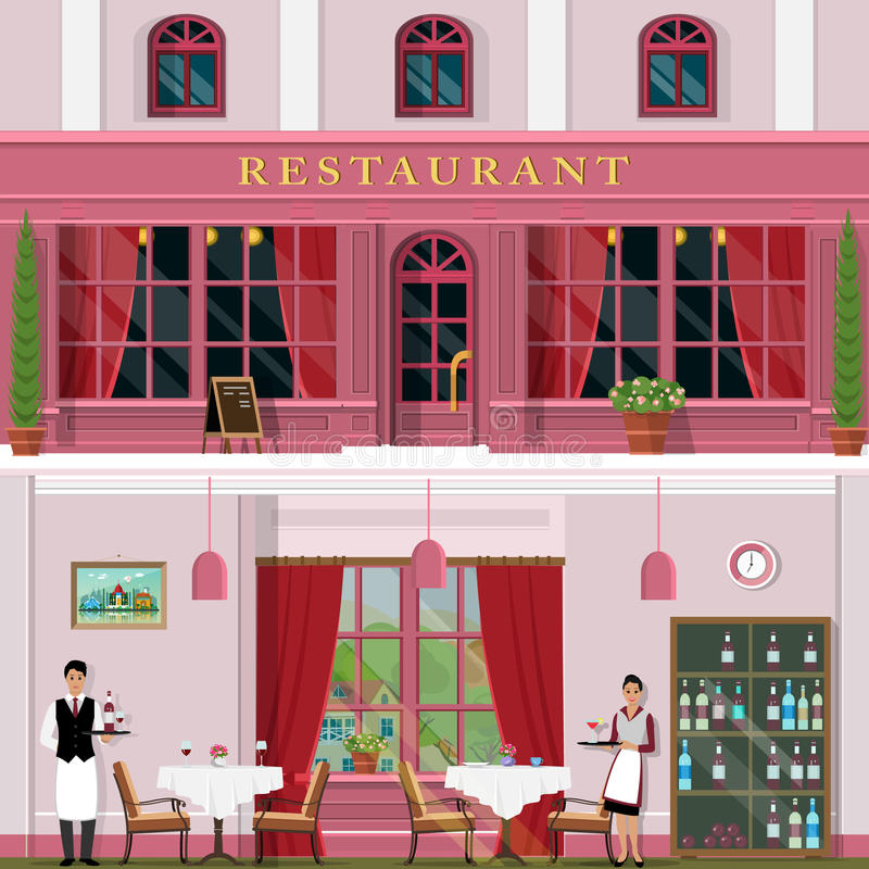 Set of vector detailed flat design restaurant facade and