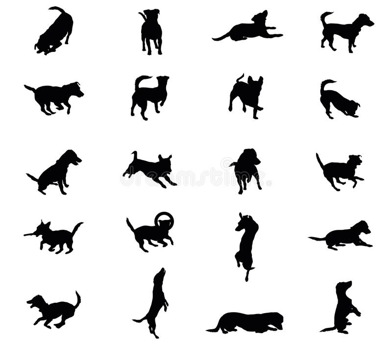 Set of vector dogs silhouettes royalty free illustration