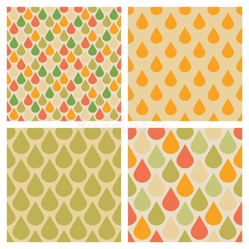 Set of vector drops seamless patterns in retro fall colors. Rain autumn backdrop illustration vector illustration