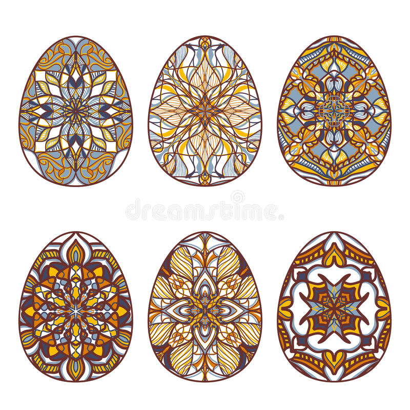 Set of vector easter eggs with beautiful oriental ornaments. Collection of decorative isolated elements to Easter. Ethnic theme royalty free illustration