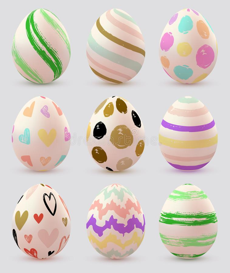 Set of vector Easter eggs royalty free illustration
