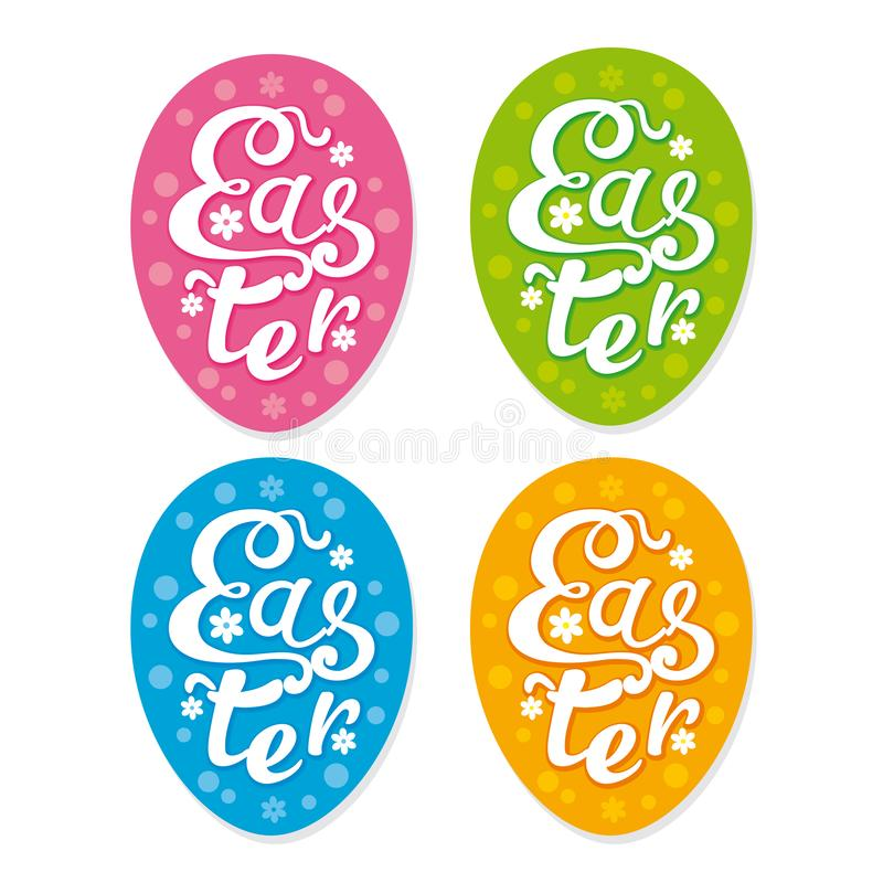 Set of vector Easter stickers stock illustration