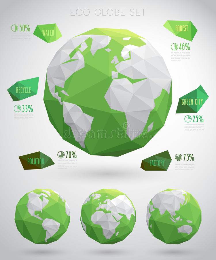 Set of vector eco globes - geometric modern style. Vector illustraition royalty free illustration