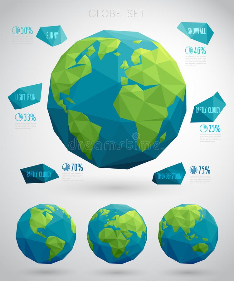 Set of vector eco globes. Geometric modern style with polygons stock illustration