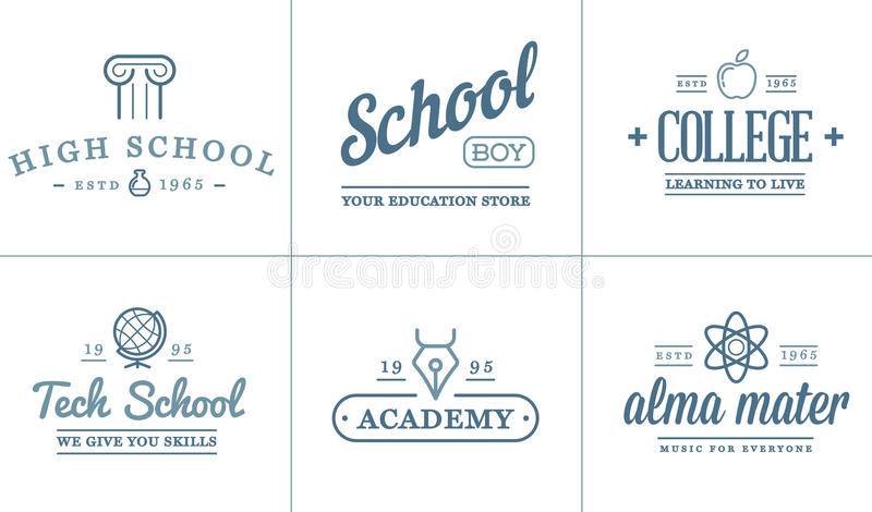 Set of Vector Education Icons Illustration can be used as Logo stock illustration