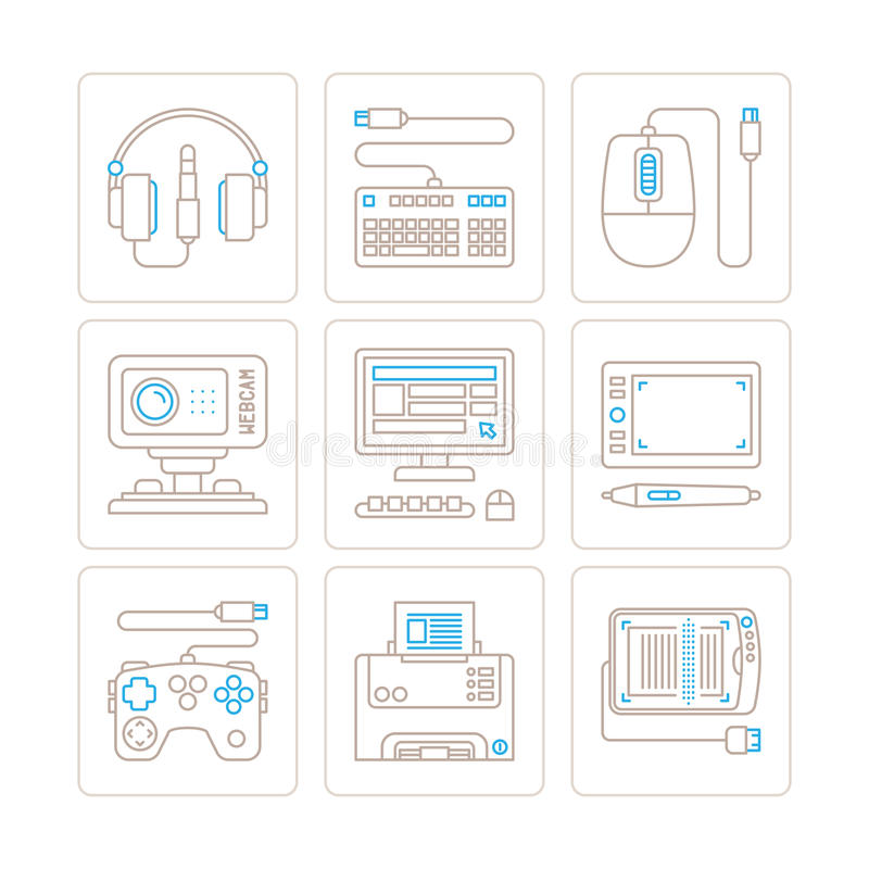 Set of vector electronics icons and concepts in mono thin line style.  stock illustration