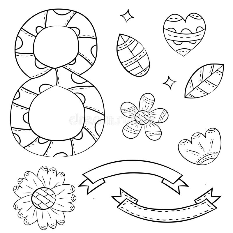 Set of vector elements of colors and numbers eight on a white background. Isolated hand drawn objects in Scandinavian style stock illustration