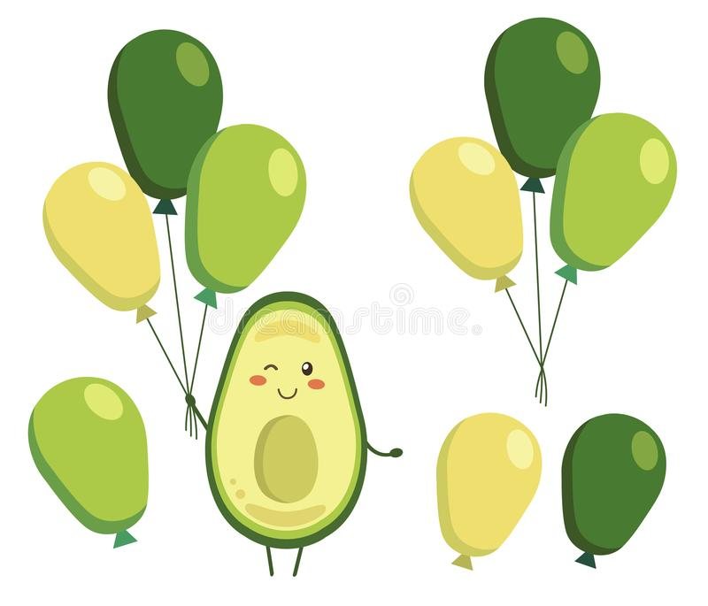Set of vector elements isolated on white. Smiling avocado with balloons in kawaii style. Cartoon character for kids. Coloring book, colouring pages, t-shirt vector illustration