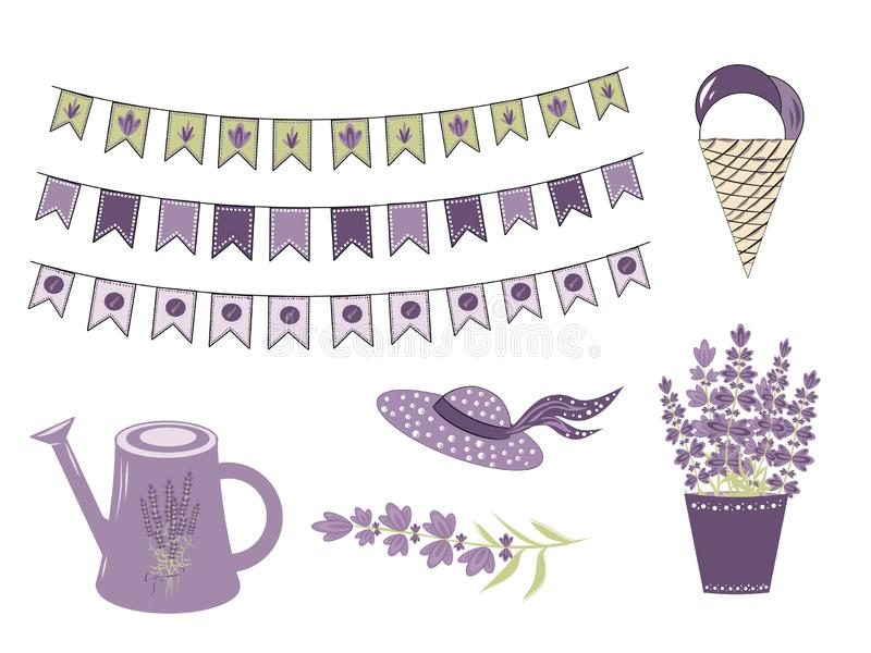 Set Vector Elements for  Lavender  in the style of Provence, lavender flowers and objects to create a romantic gentle vector illustration