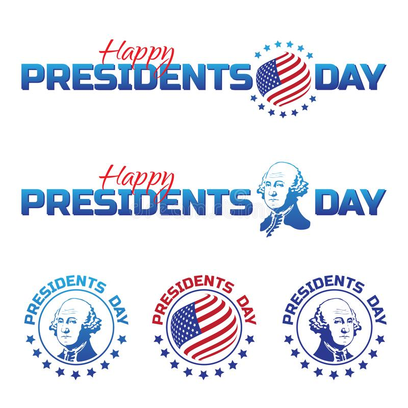Set of vector elements or logos to Happy Presidents Day - National american holiday. Vector illustration isolated on white backgro royalty free illustration
