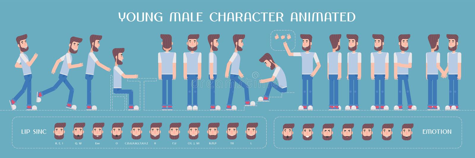Set of vector elements for man, guy character creation and animation vector illustration