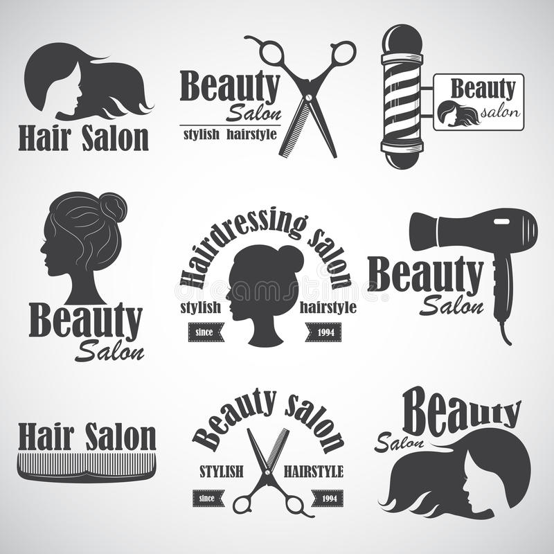 Set of vector emblem, label, badge, logos for hairdresser`s salon royalty free illustration