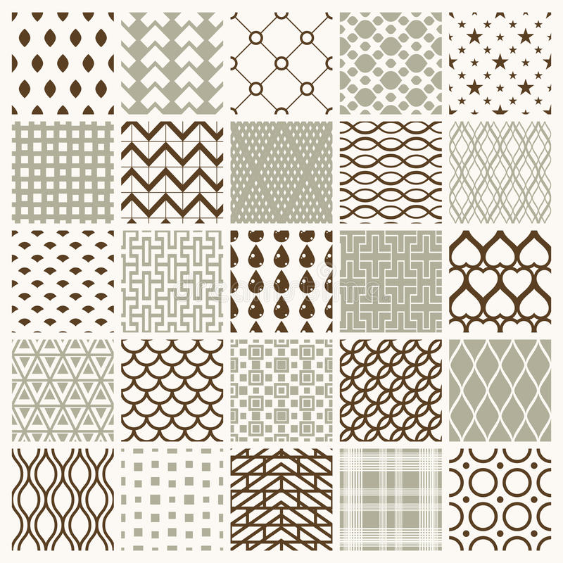Set of vector endless geometric patterns composed with different. Figures like rhombuses, squares and circles. 25 graphic tiles with ornamental texture can be vector illustration