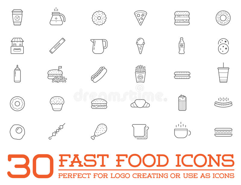 Set of Vector Fastfood Fast Food Elements Icons. And Equipment as Illustration can be used as Logo or Icon in premium quality royalty free illustration