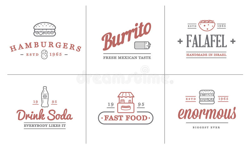 Set of Vector Fastfood Fast Food Elements Icons and Equipment as Illustration can be used as Logo. Or Icon in premium quality stock illustration