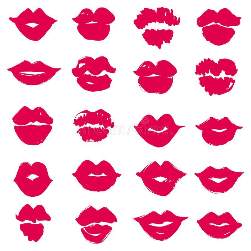 Set of Vector female lips. Lipstick kiss print isolated. royalty free illustration