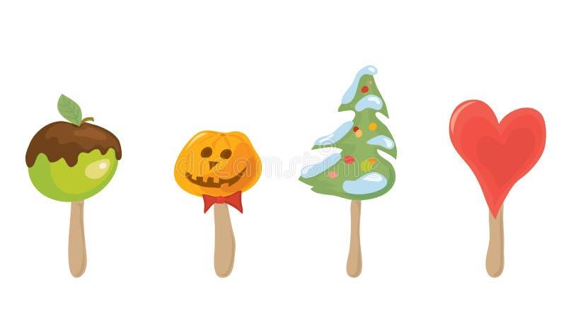 Set of vector festive desserts on a stick / choose your sweet holiday. Set of vector festive desserts on a stick vector illustration