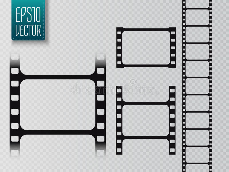 Set of vector film strip isolated on transparent background. royalty free illustration