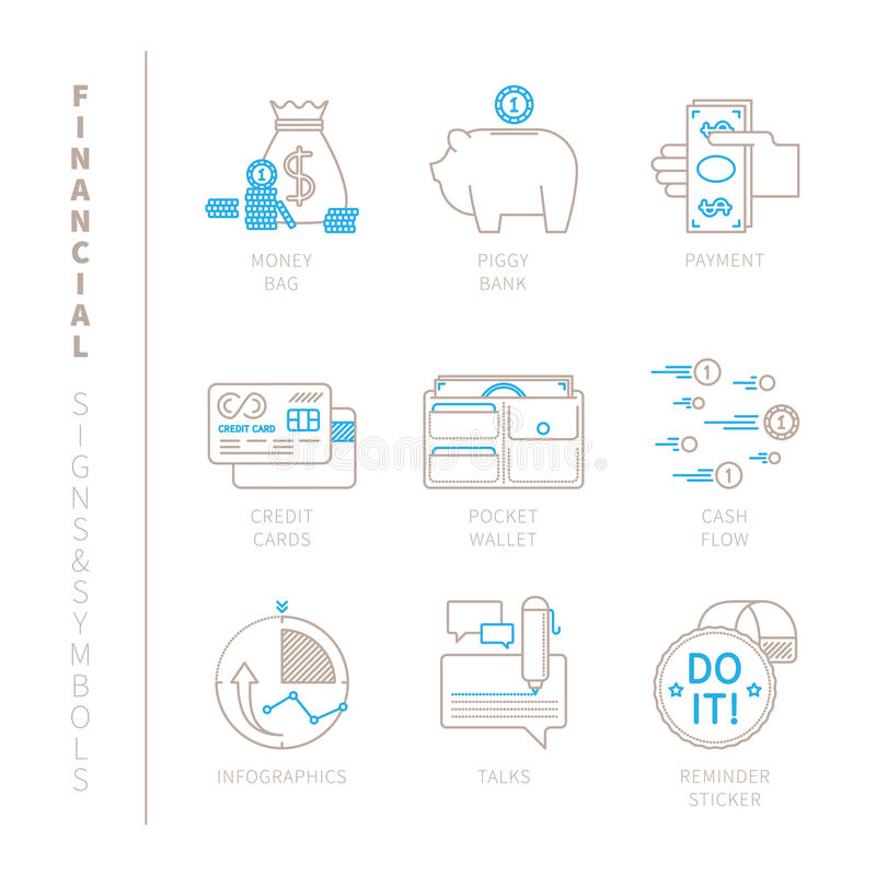 Set of vector financial icons and concepts in mono thin line style vector illustration