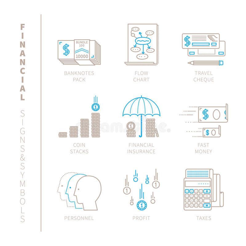 Set of vector financial icons and concepts in mono thin line style.  royalty free illustration