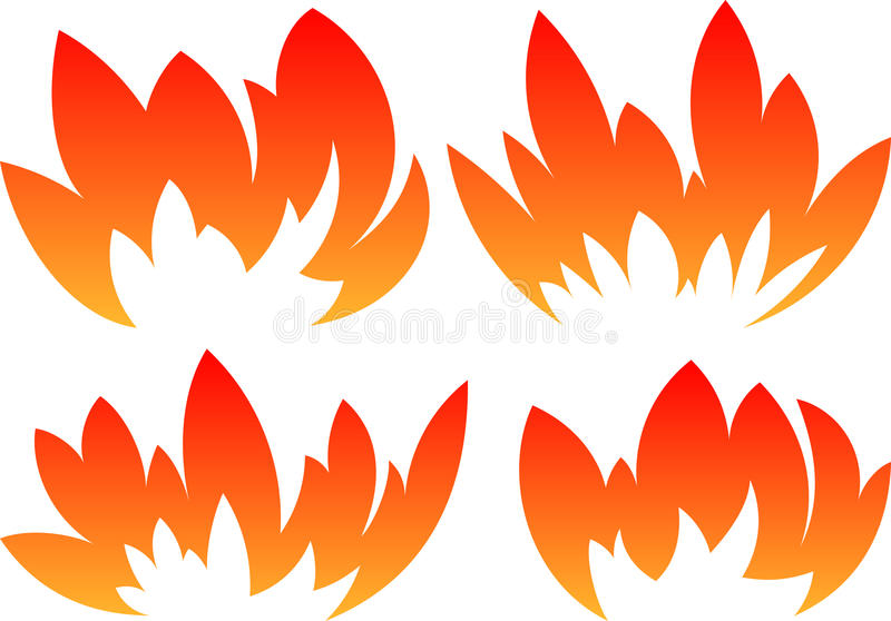 Set of 4 vector fires in cartoon style.  royalty free illustration