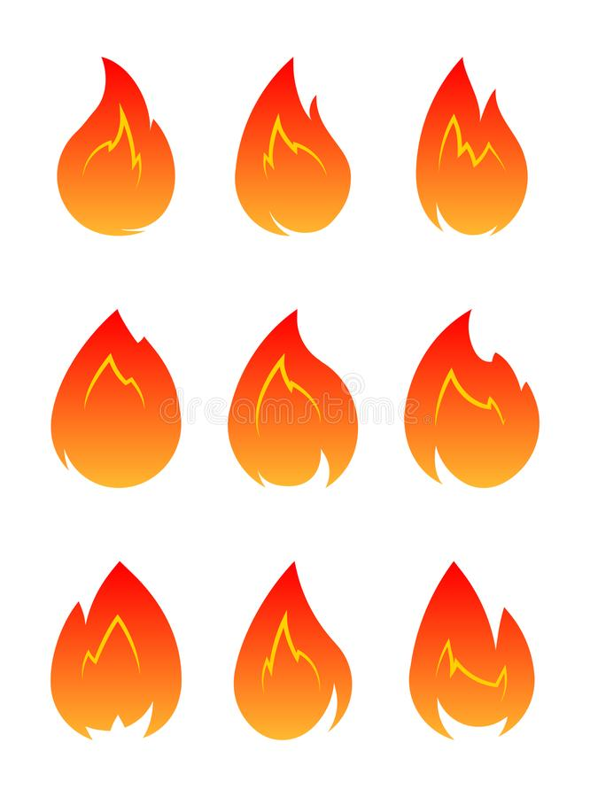 Set of 9 vector fires isolated on a white. Set of 9 vector fires isolated on a white vector illustration