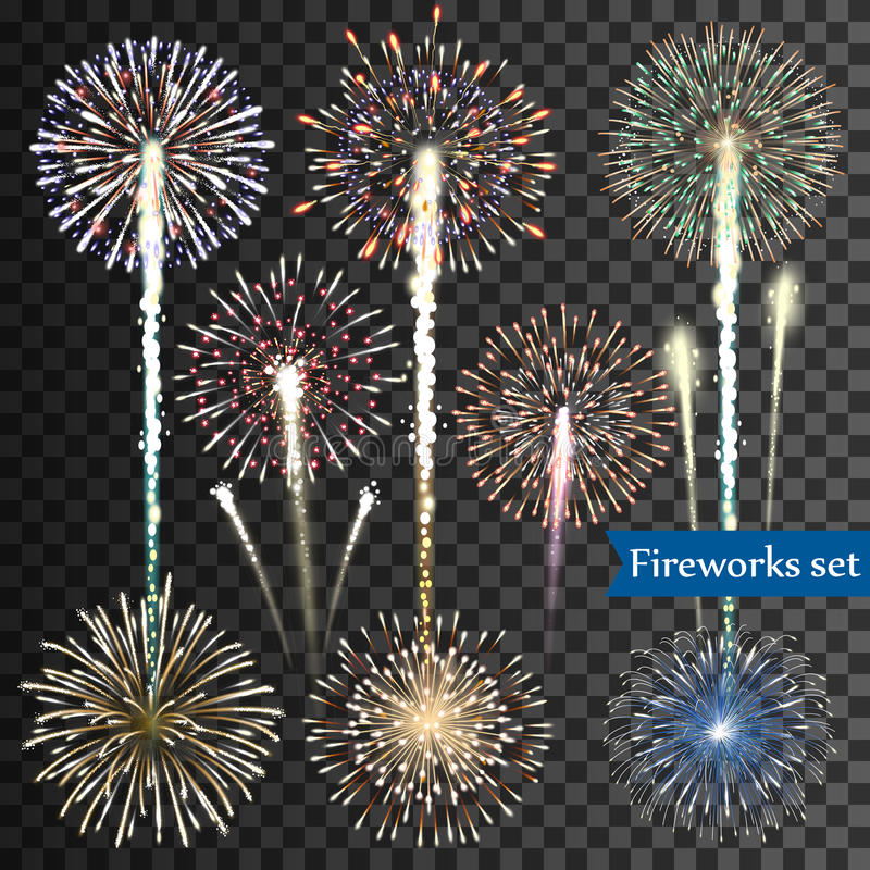 Set of vector fireworks royalty free illustration