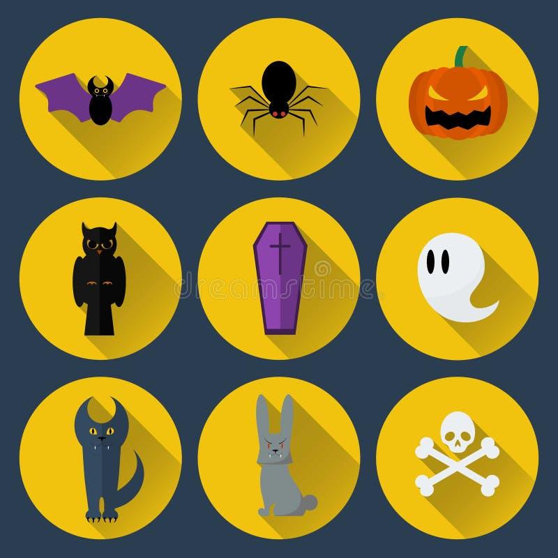 Set of vector flat design Halloween icons vector illustration